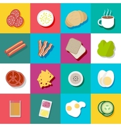 Breakfast fresh food and drinks flat icons set vector