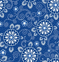 Japan blue floral pattern vector