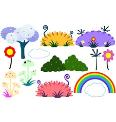 Flat Tree Flower Plants Rainbow Cloud vector image