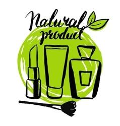 Set brush hand drawn natural eco cosmetics vector image