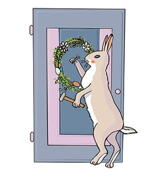 Easter bunny and festive wreath vector