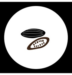 Cocoa bean for making chocolate silhouette icon vector