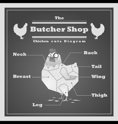 Chicken cuts diagram butcher shop background vector