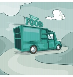 Food truck vintage monochrome background vector