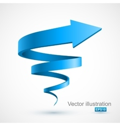 Blue spiral arrow 3d vector