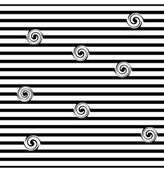 Striped and spiral seamless pattern vector