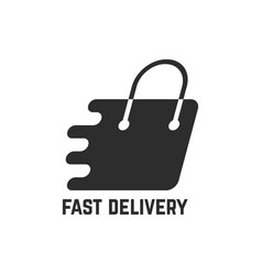 Black shopping bag like fast delivery vector