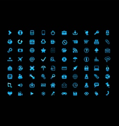 Blue icon set vector image