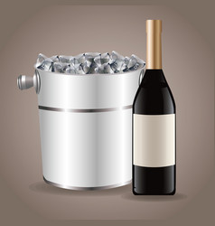 bottle wine ice bucket drink image vector image
