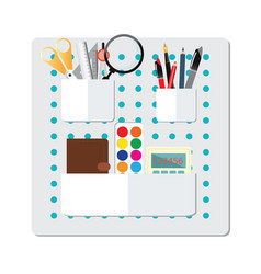 Box full of office supply vector
