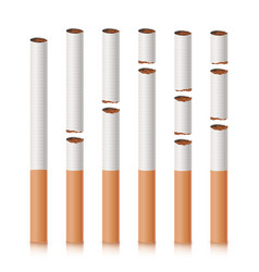 Broken cigarettes set smoking kills quit vector