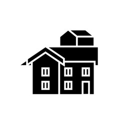 bungalow icon black sign on vector image