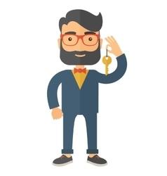 Business man holding a golden key vector