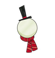 Christmas cute funny snowman with scarf and hat vector