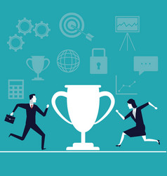 color background with executive people running to vector image vector image