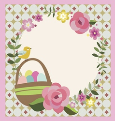 Easter floral greeting card design vector
