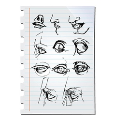 Eyes on paper vector