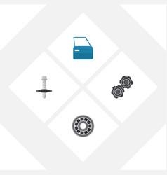 Flat workshop set of automobile part brake disk vector