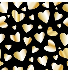 Golden foil heart seamless pattern vector