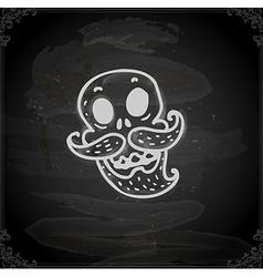 Hand Drawn Skull with Facial Hair vector image vector image