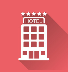Hotel icon isolated on red background with long vector