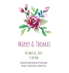 invitation card with watercolor floral vector image vector image
