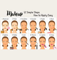 Makeup 12 simple steps how to apply easy vector