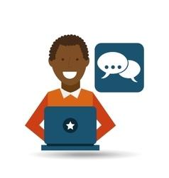 man afroamerican using laptop bubble speech media vector image vector image