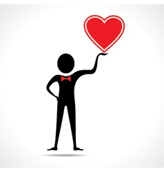 Man holding a heart icon vector image vector image