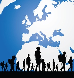Migration people with map in background vector