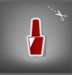 Nail polish sign red icon with for vector