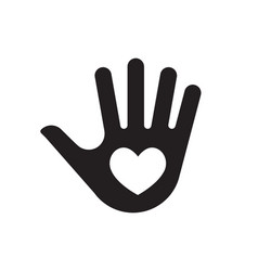 palm hand with heart icon vector image