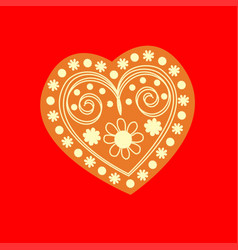 Patterned yellow heart on a red background vector