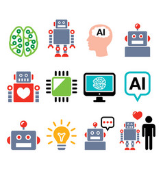robot artificial intelligence ai cyborg icons vector image