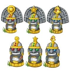 Sculptures of tribal deities with precious stones vector