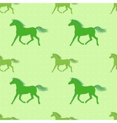 seamless pattern with colorful green horses on vector image vector image