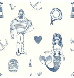 Seamless sea pattern vector image