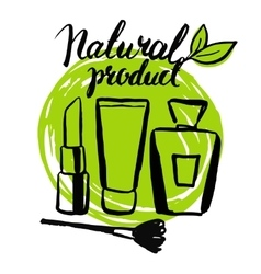 Set brush hand drawn natural eco cosmetics vector