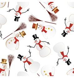 snowman seamless pattern vector image