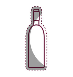 Stiker wine bottle with glass beverage vector