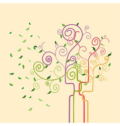 Swirl trendy spring tree vector