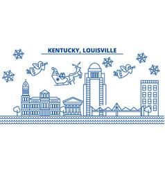 usa kentucky louisville winter city skyline vector image vector image