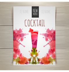Watercolor cocktail poster vector