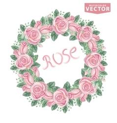 Watercolor pink roses wreathCute vintage flowers vector image vector image