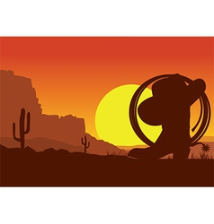 Wild west american desert landscape with cowboy vector image