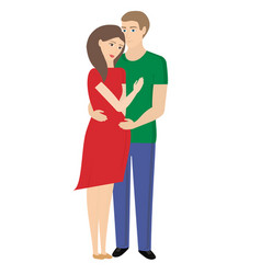 Young married couple happy pregnancy family vector