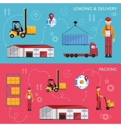 Warehouse process infographics four banners vector