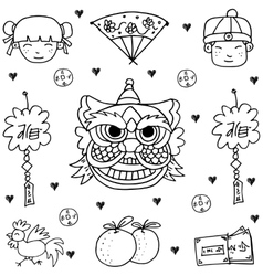 Chinese new year of doodles vector