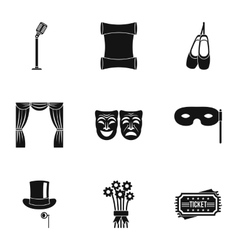 Theatrical performance icons set simple style vector