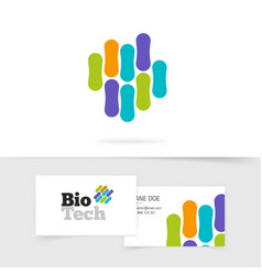 bio technology logo with abstract color genetic vector image